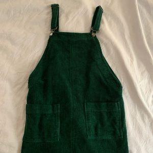 f21 corduroy dark green pinafore w pockets S